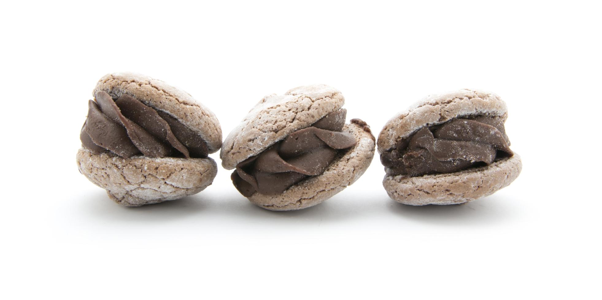 Masitas rellenas con pasta glass y pasta cacao