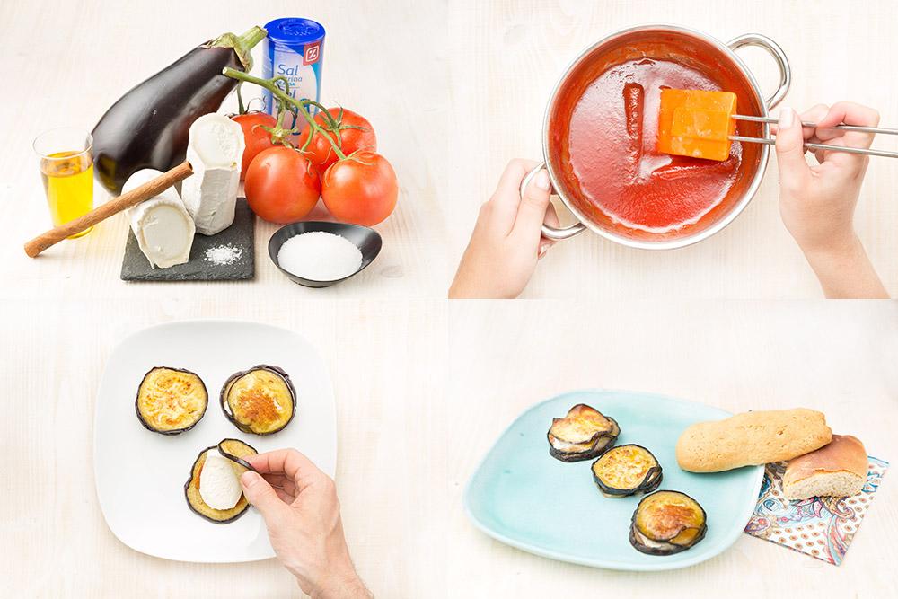 Milhojas de berenjena con mermelada de tomate