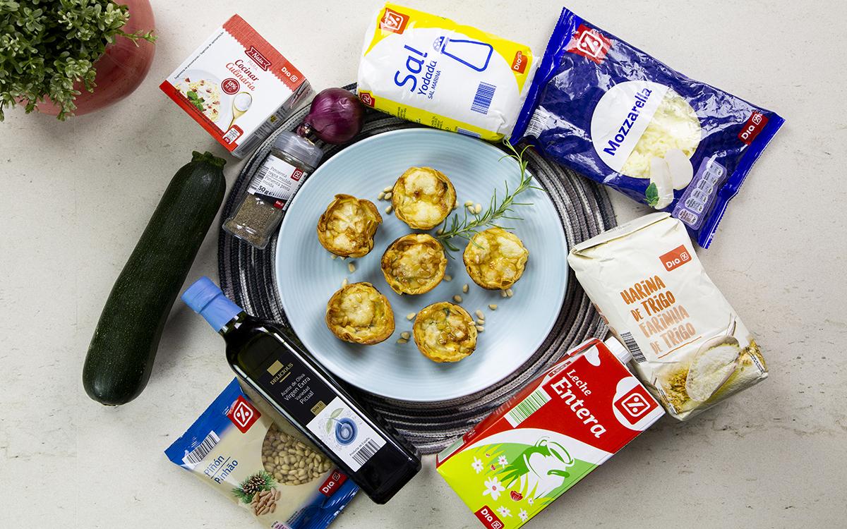 Mini quiches de verduras con piñones y queso de cabra
