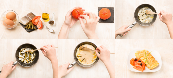 Tortilla de ajetes y bacalao con tomates y huevas