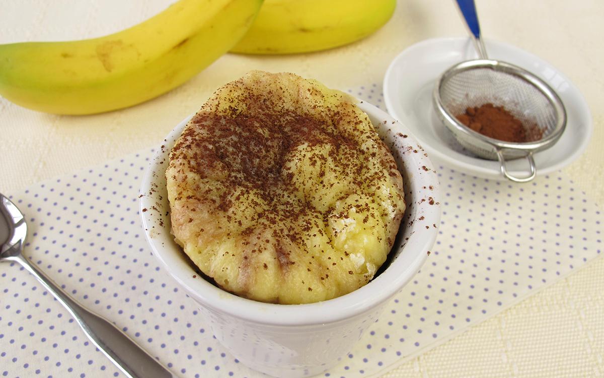 Mug cake con plátano y cacao