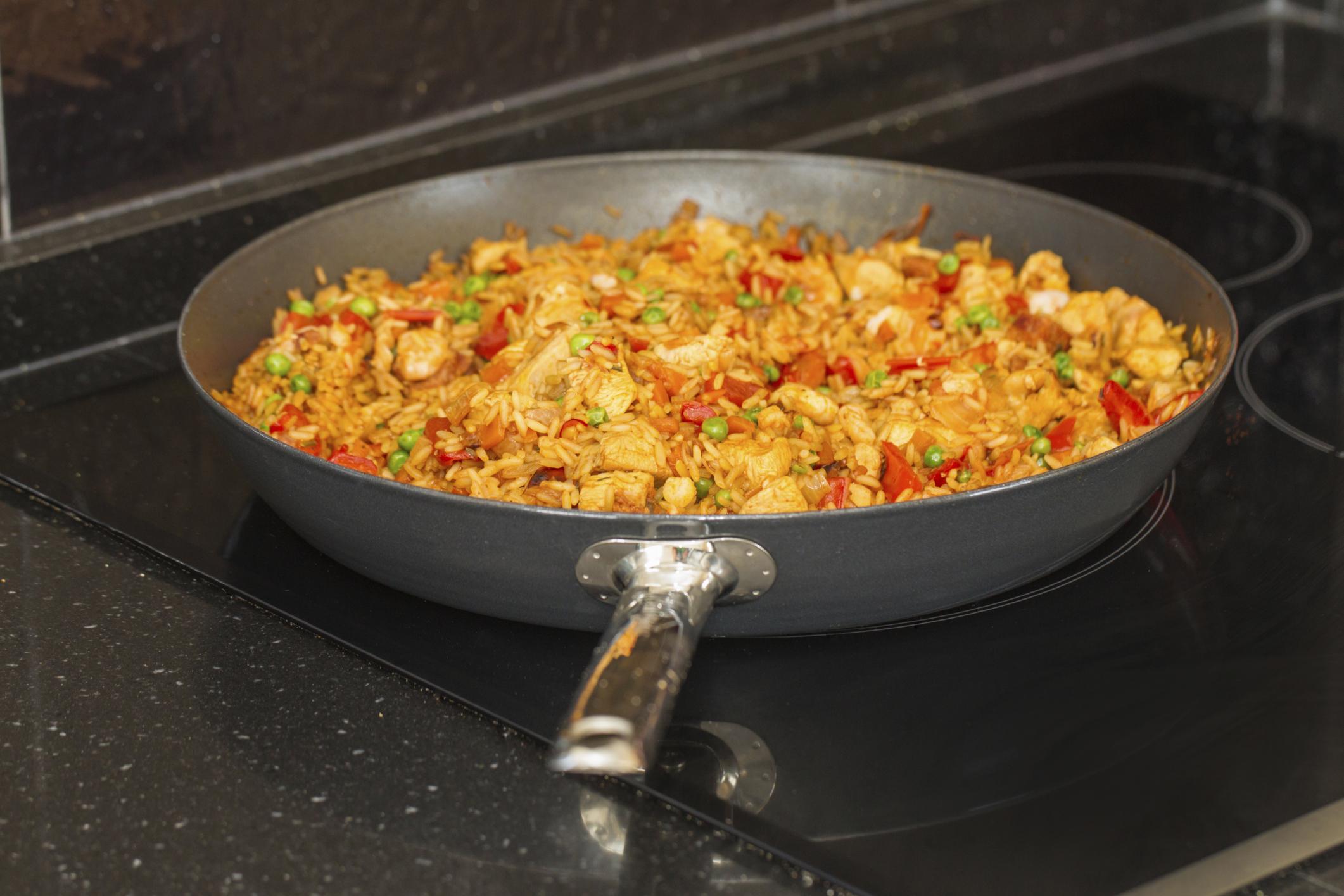 Paella de gambón y verdura