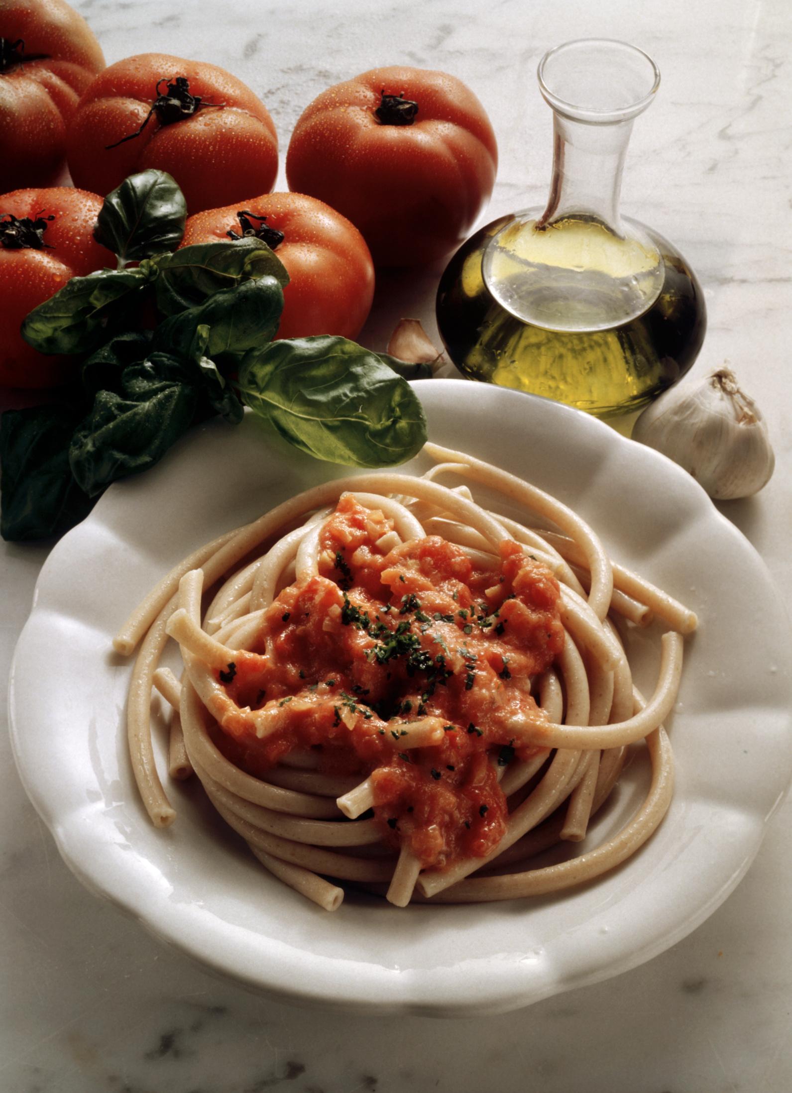 Pasta al Oporto con salsa de tomate
