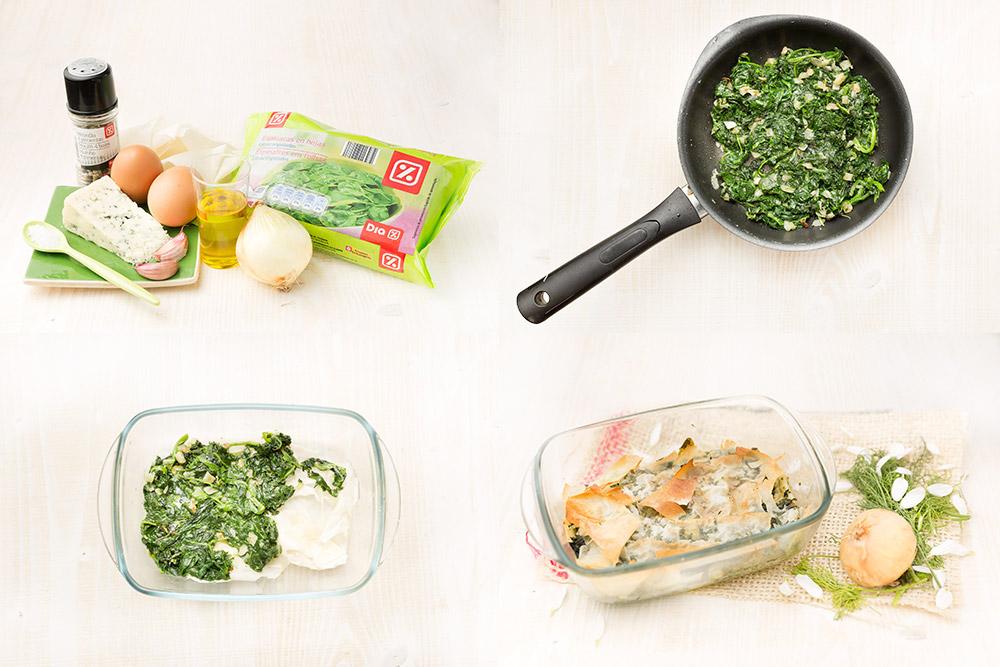 Pastel de espinacas y gorgonzola