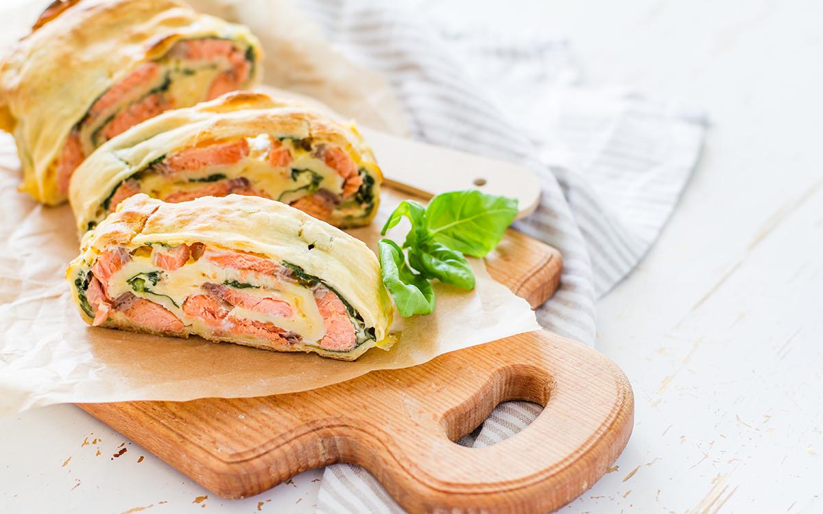 Pastel de salmón y espinacas