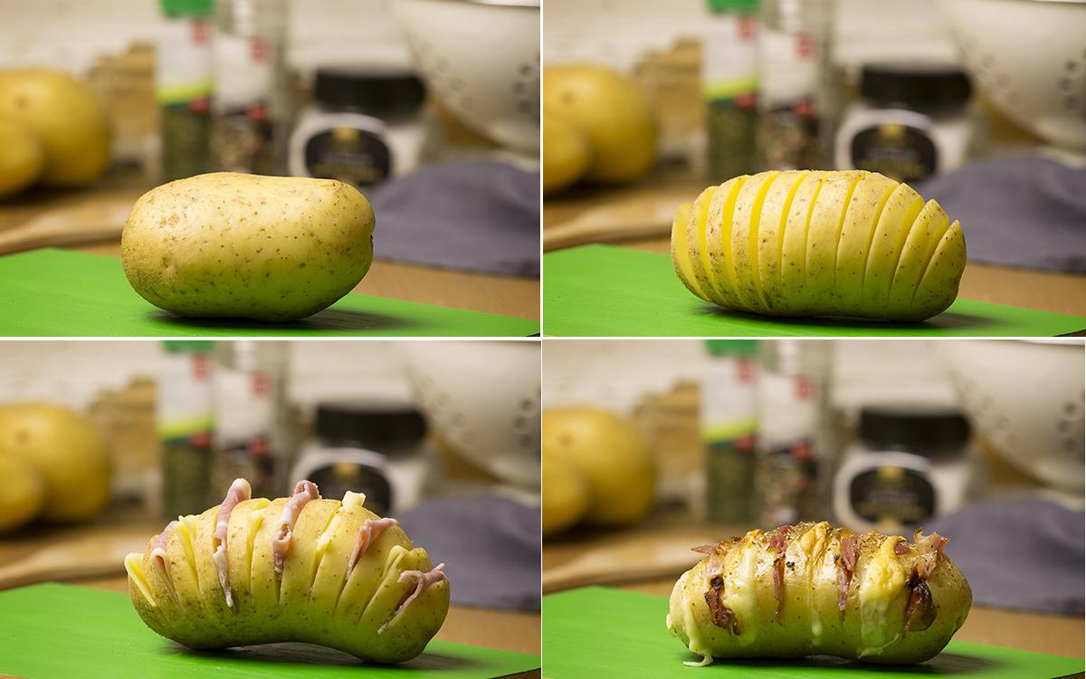 Patatas hasselback rellenas