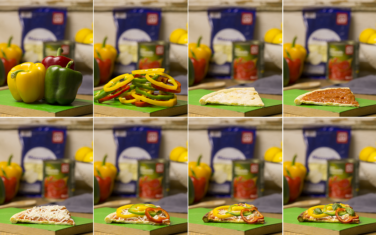 Pizza vegetariana de pimientos