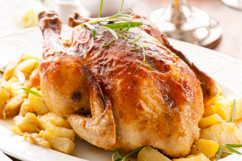 Pollo de corral relleno