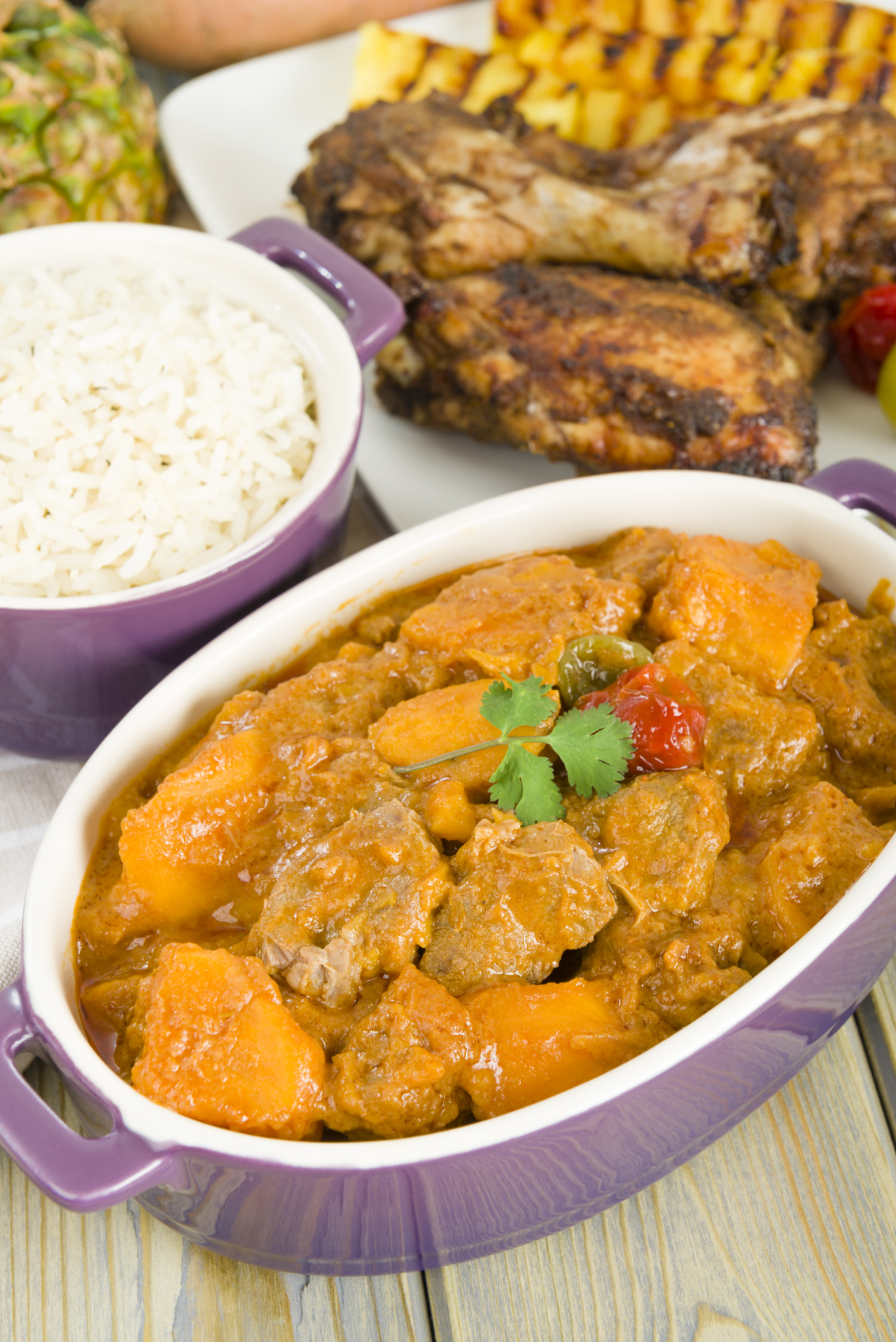Pollo en salsa caribeña