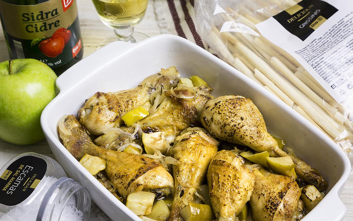 Pollo a la sidra con manzanas