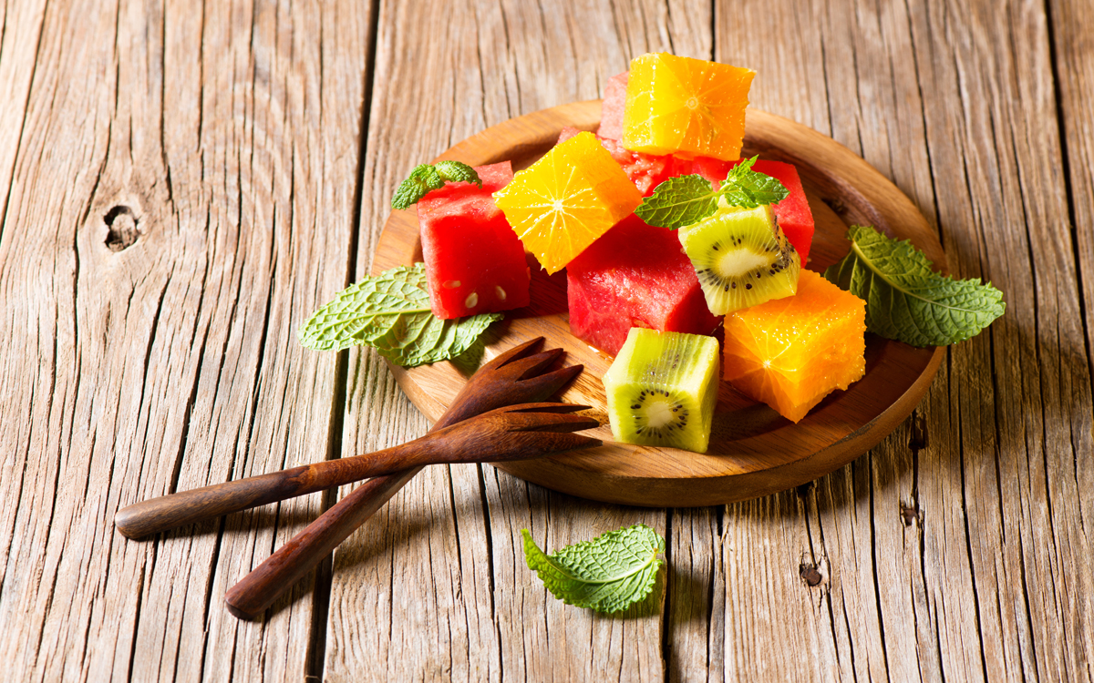 Postre dados de fruta