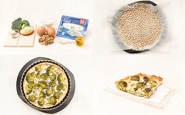 Quiche de brócoli, nueces y gorgonzola