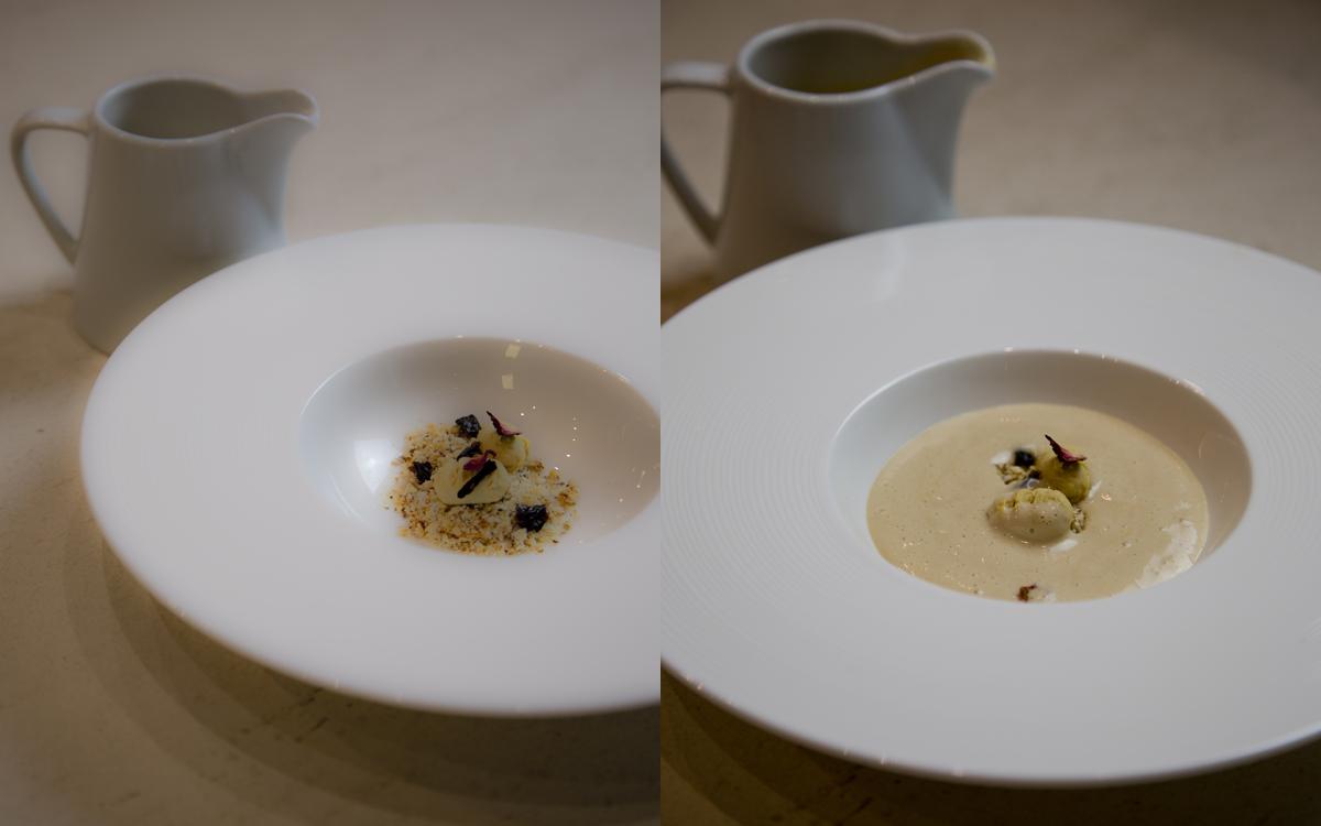 Sopa de Turrón, arena de guirlache y falsos ñoquis de crema de huevo