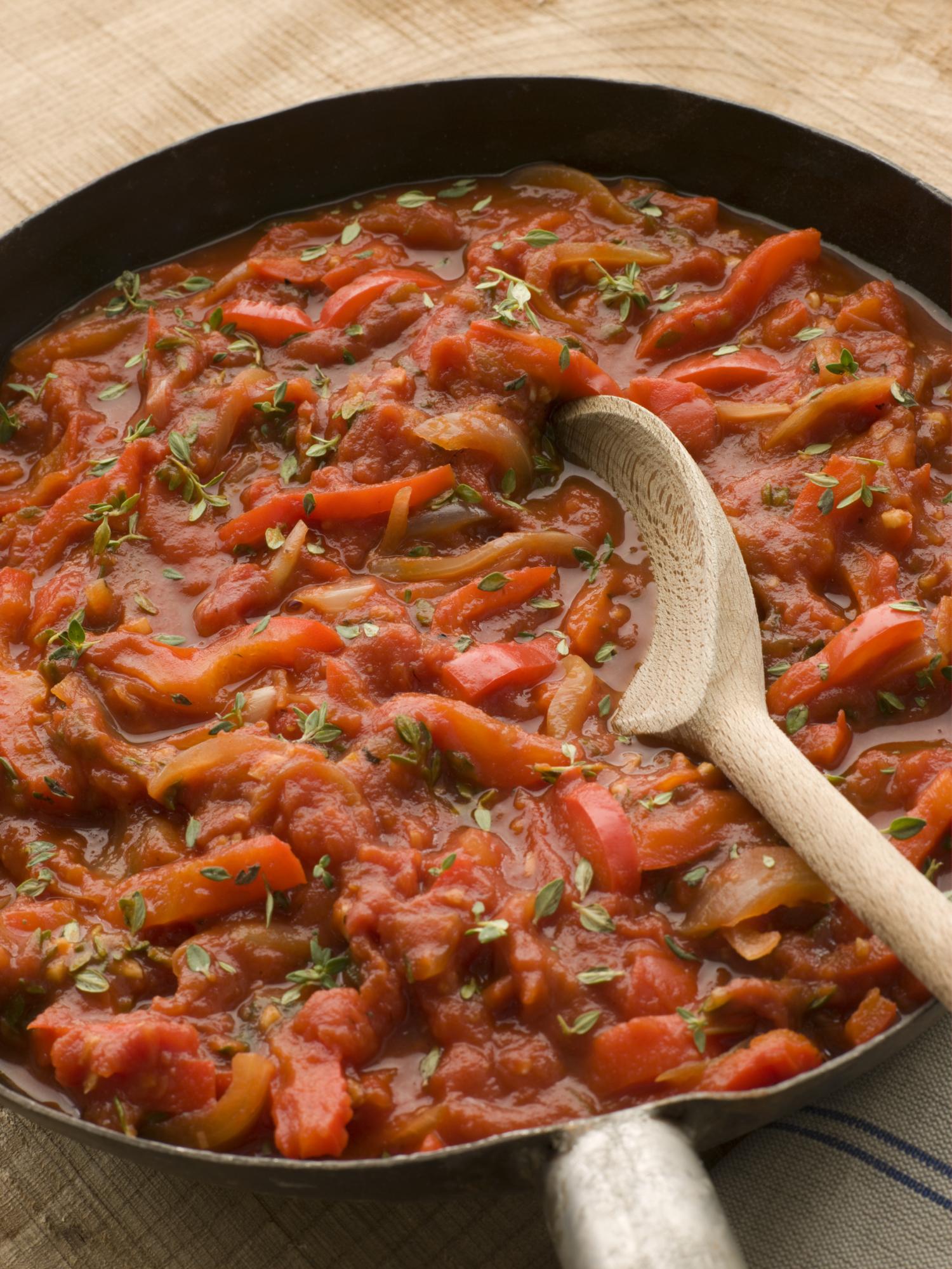 Revuelto de tomate y pimiento asado