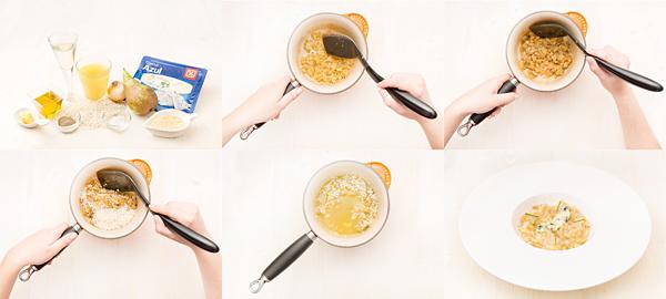Risotto de queso azul y pera