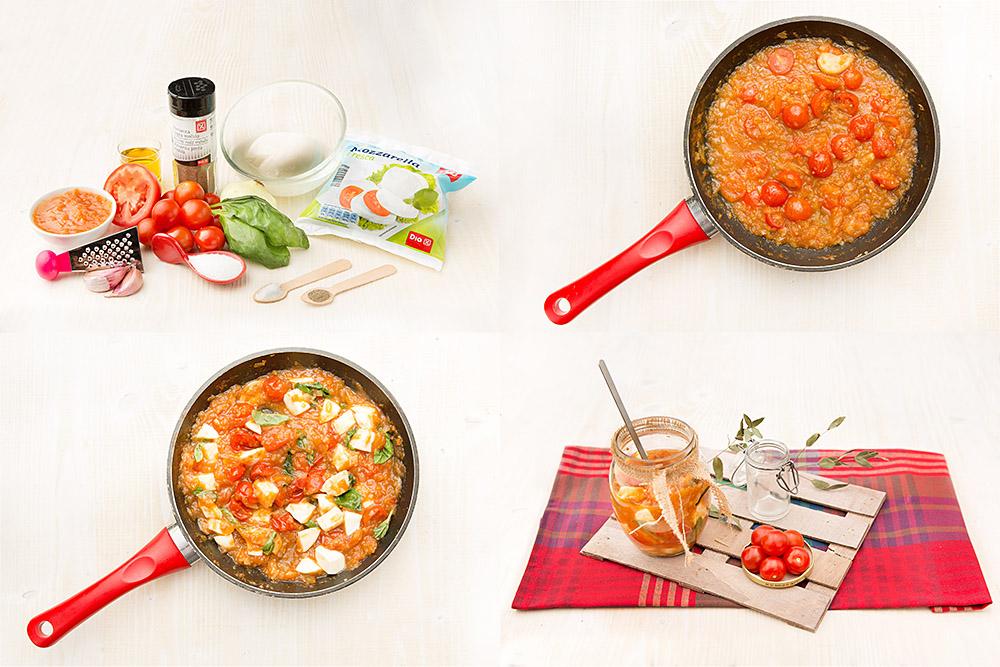 Salsa de tomate, mozzarella y albahaca