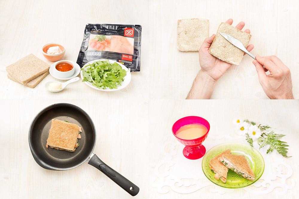 Sandwich de salmón ahumado y membrillo