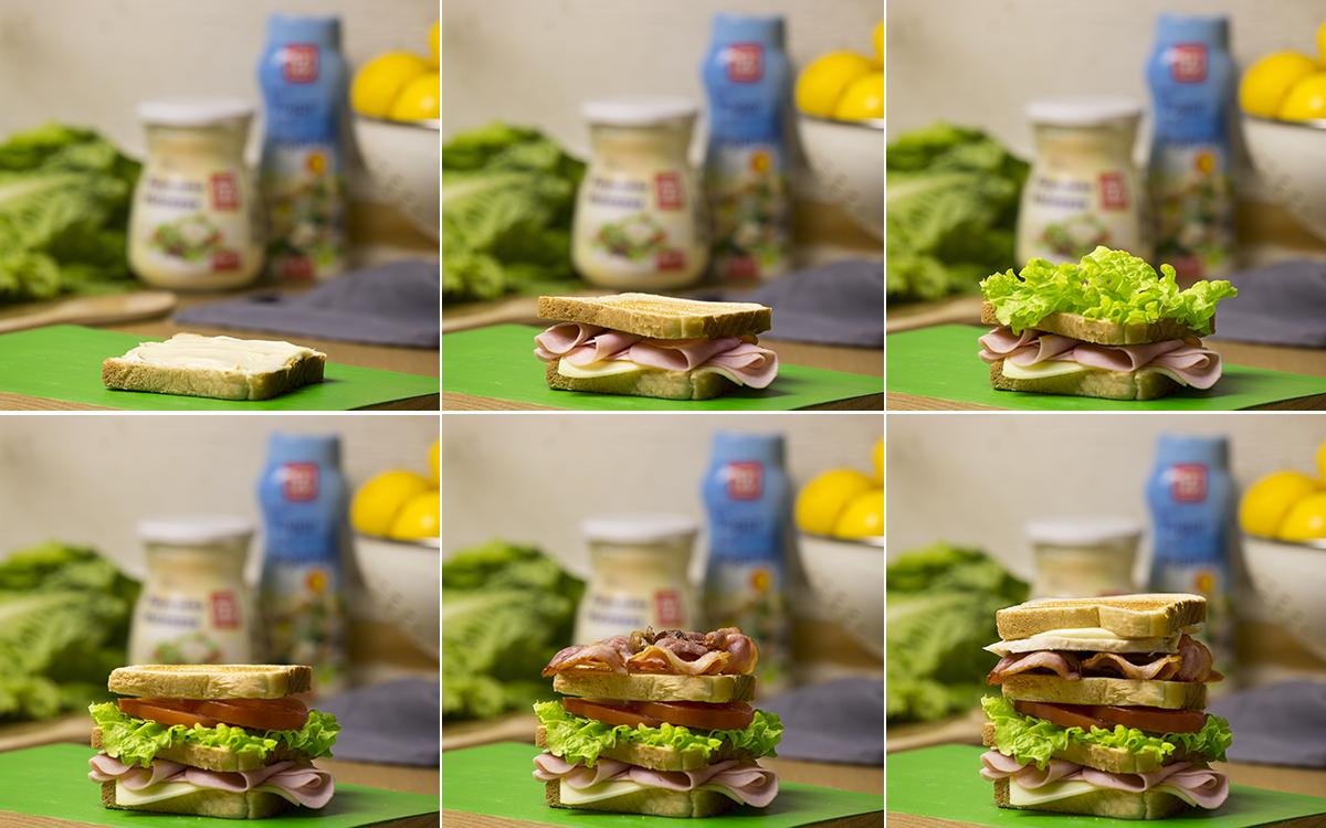 Sandwich Club con lechuga y tomate frescos