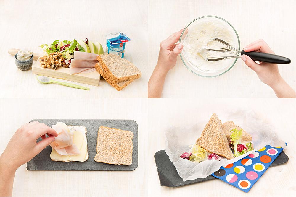 Sandwich de pavo, nueces y manzana