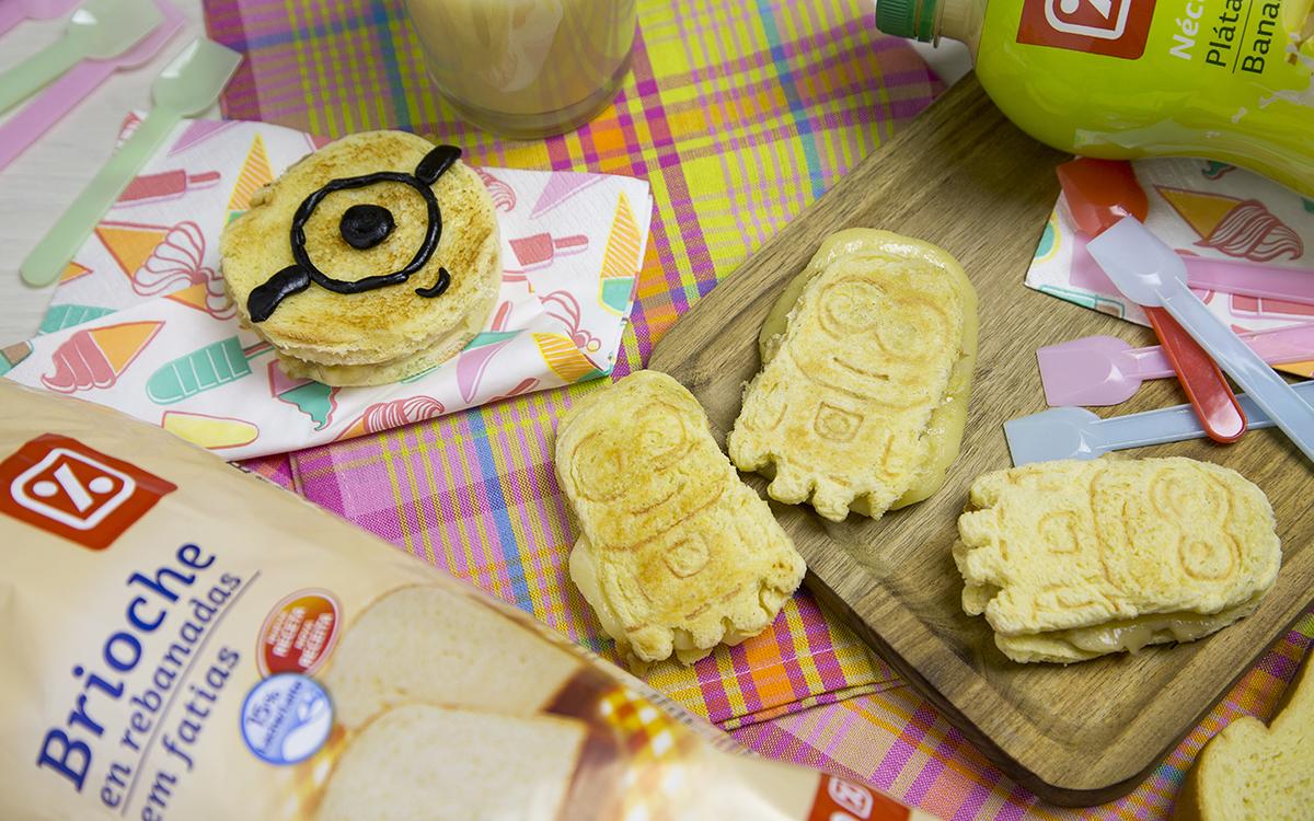 Sándwich Minion de plátano y queso