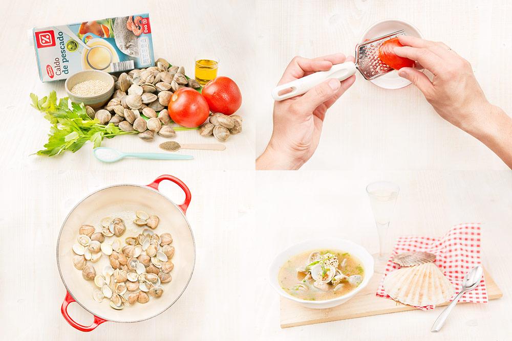 Sopa de almejas con quinoa