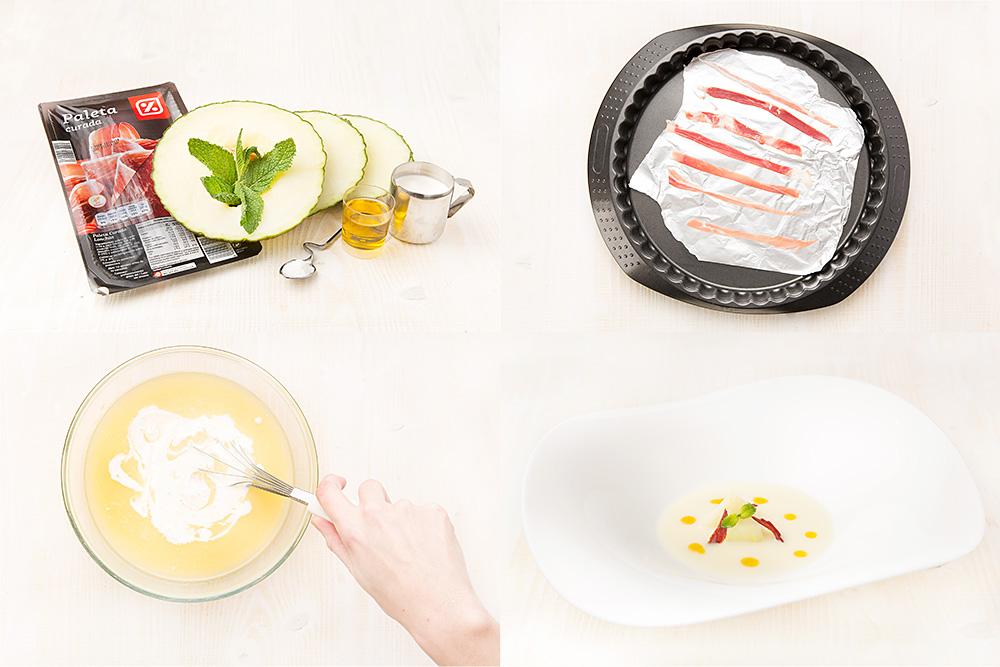 Sopa de melón con jamón