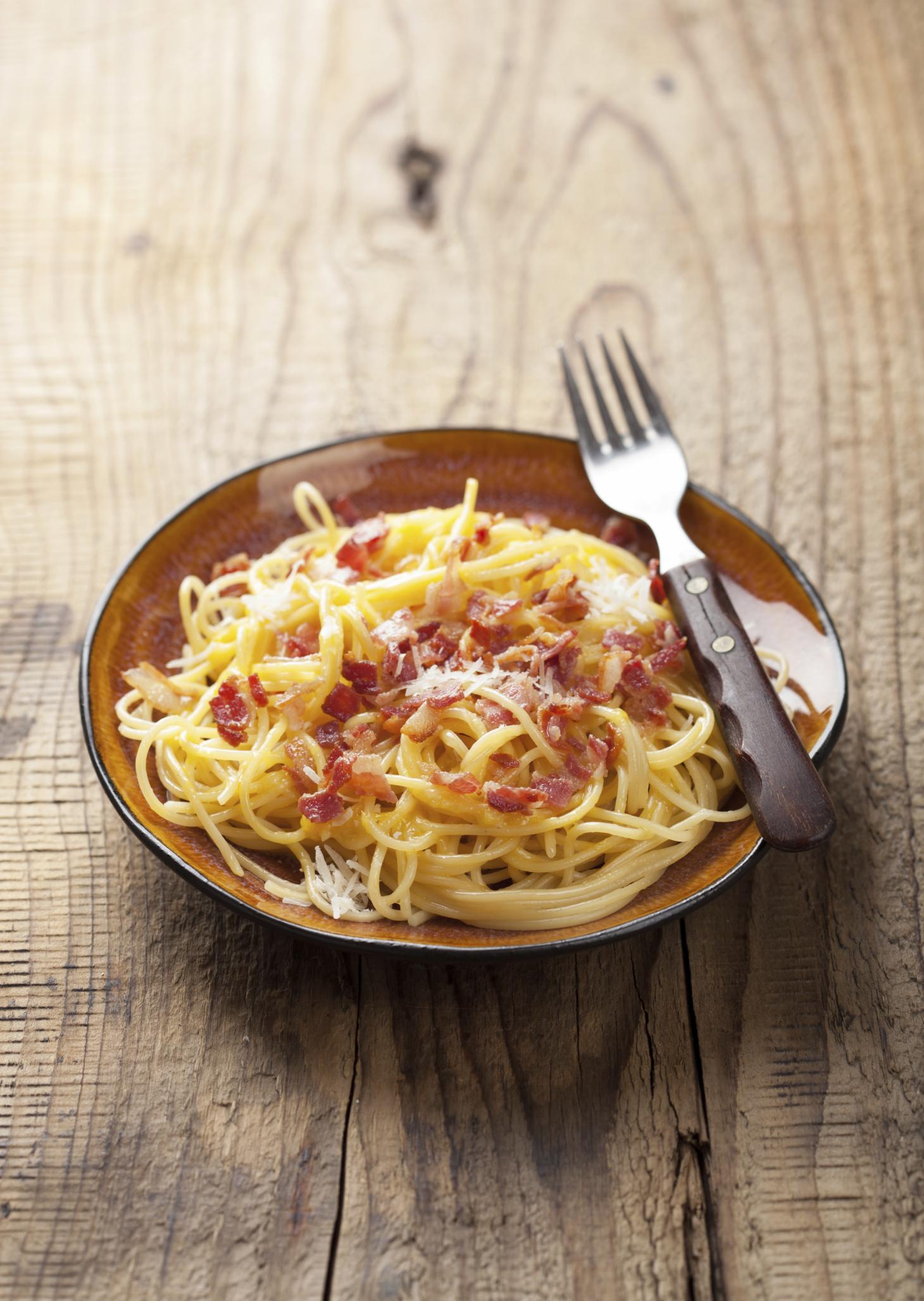 Spaghetti  alla Carbonara con bacón