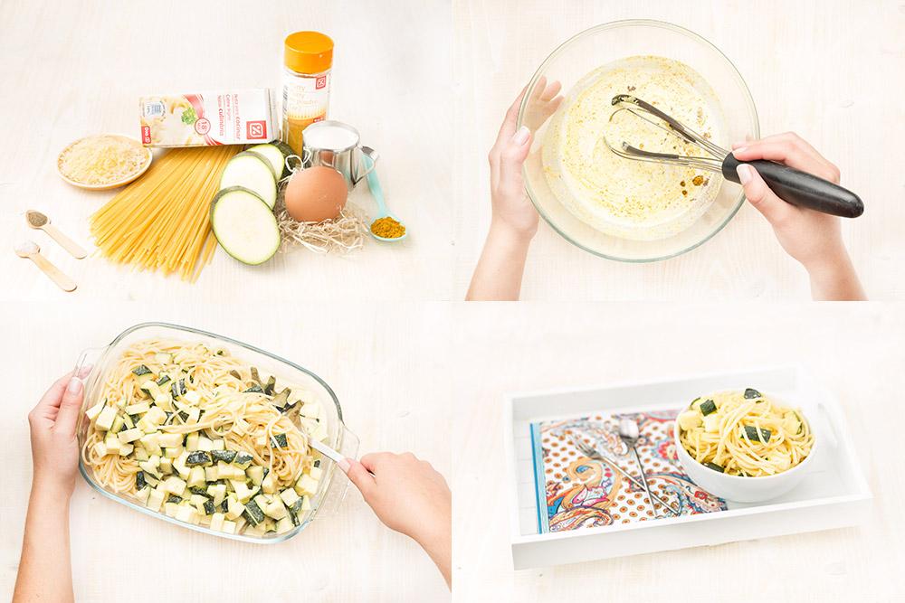 Espaguetis con salsa de calabacines al curry