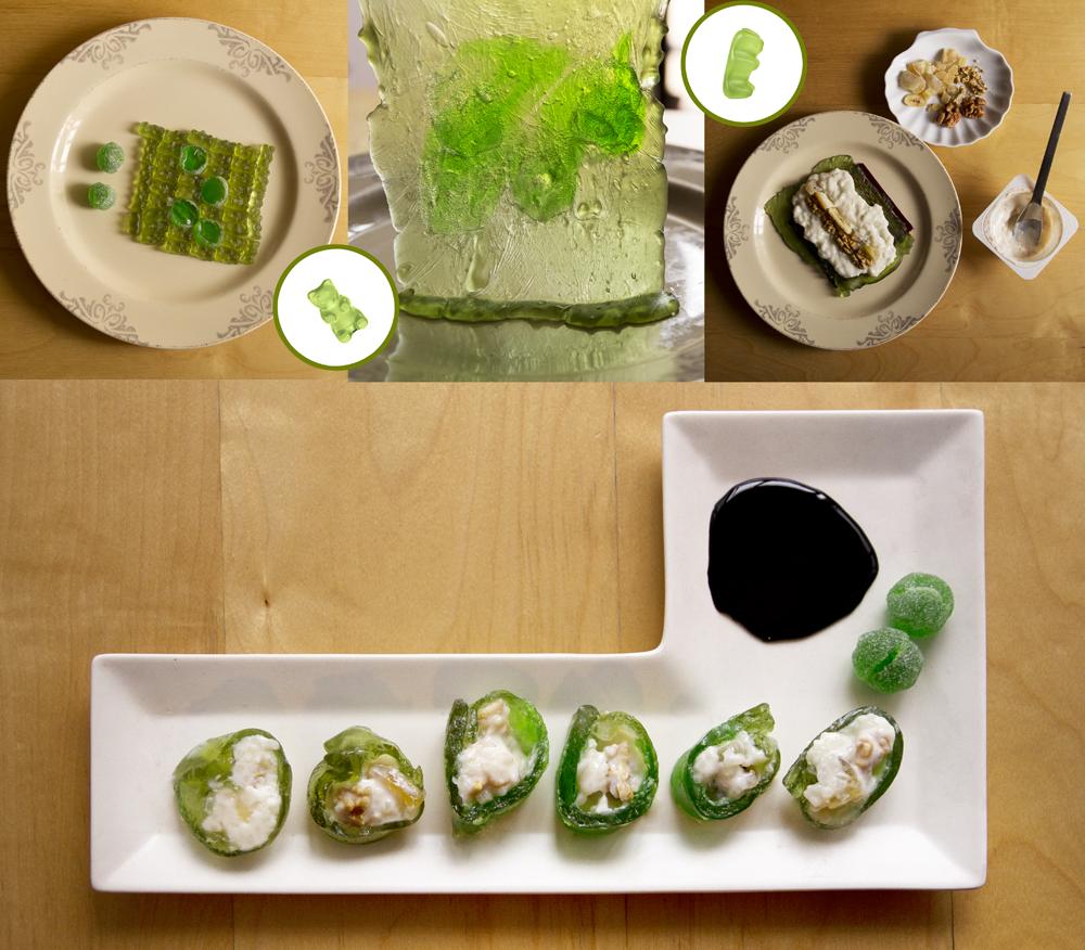 Sushi maki dulce de ositos verdes
