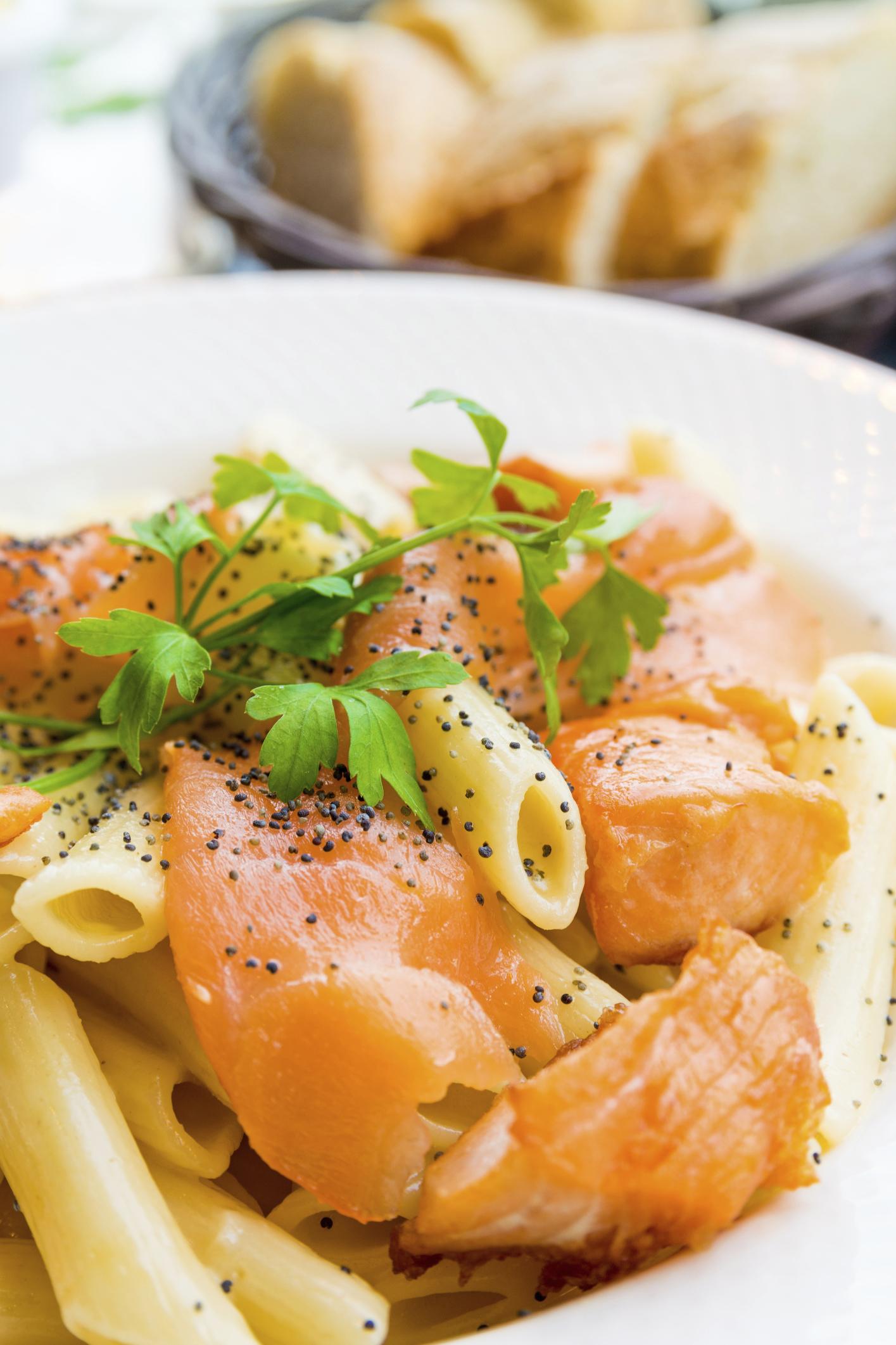Macarrones con salmón