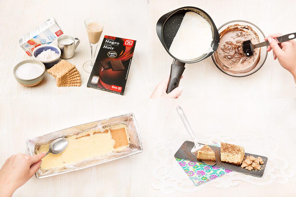 Tarta de galletas con flan y chocolate