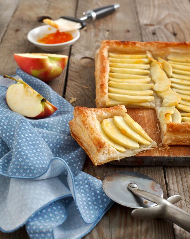 Tarta de manzana hojaldrada