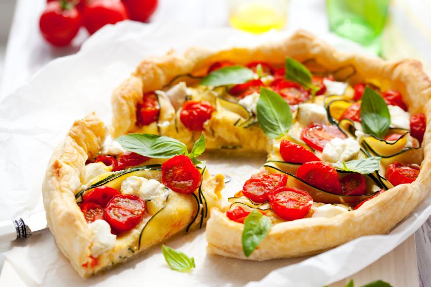 Tarta de ricota, calabacín y tomates secos