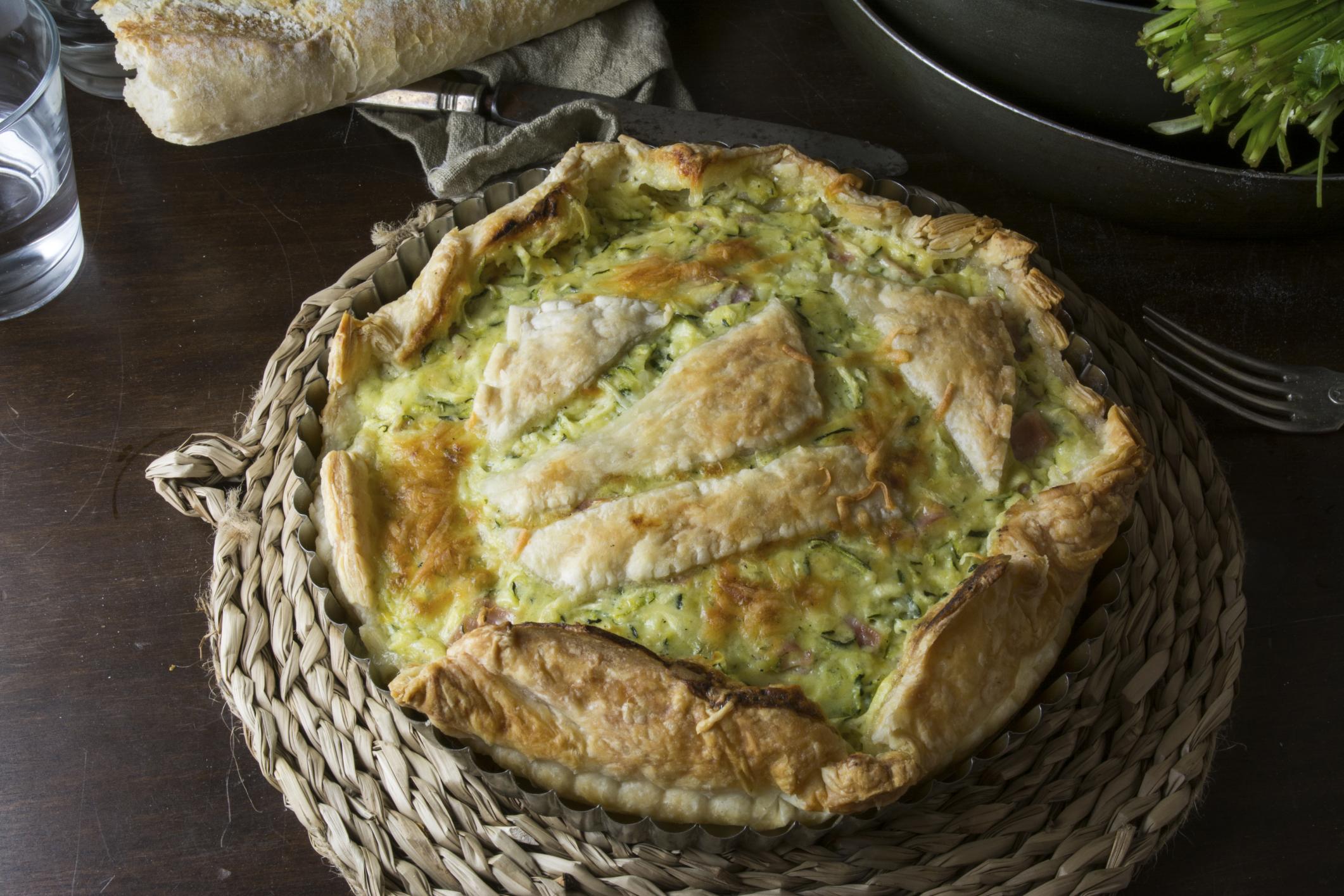 Tarta verde de calabacines y queso