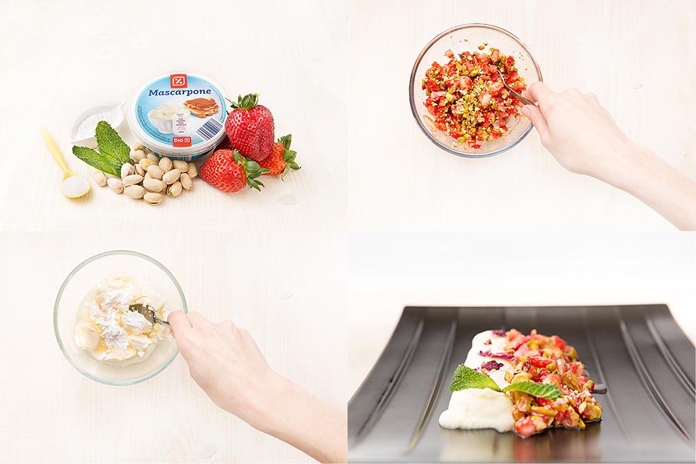Tartar de fresas con mascarpone