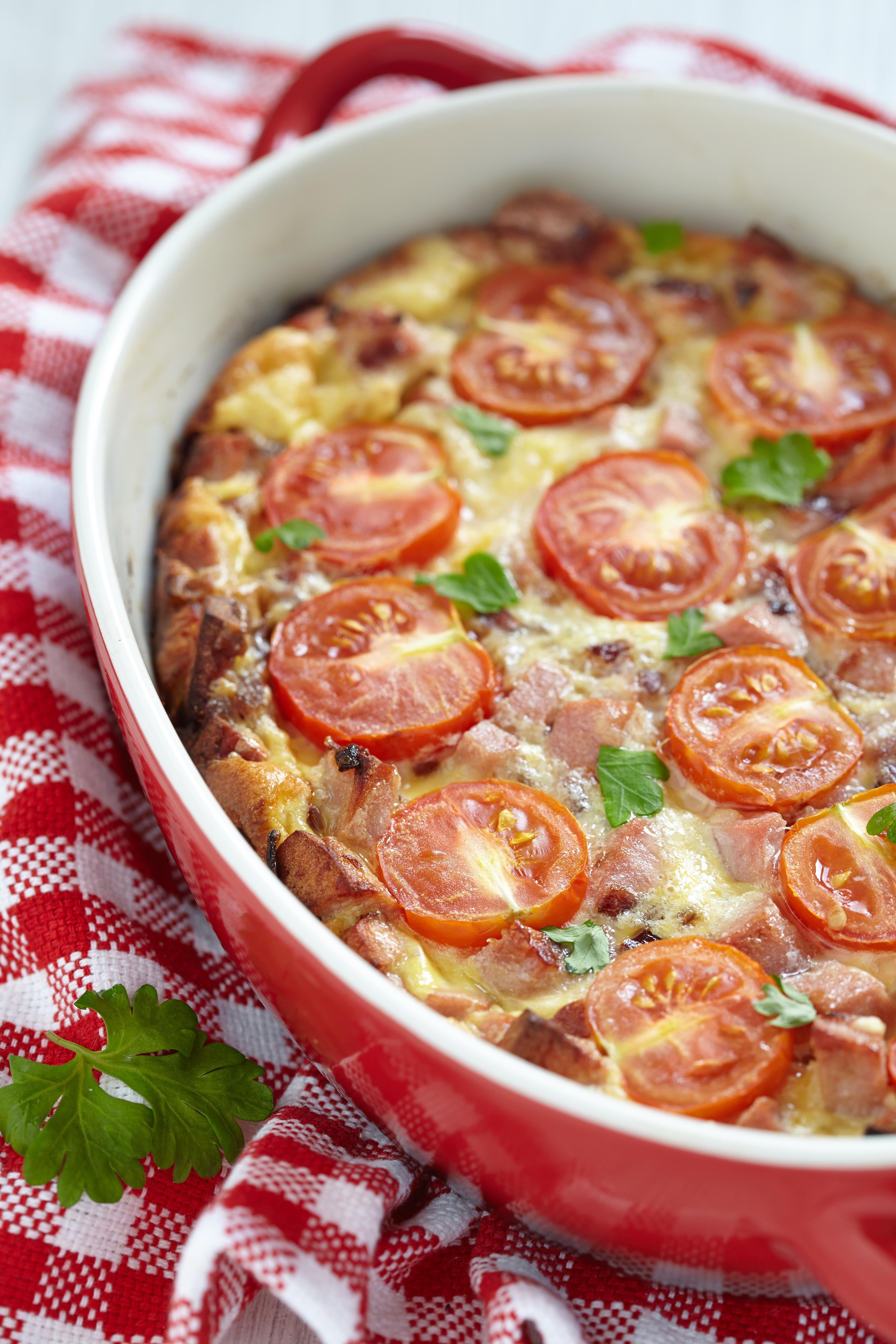Tortilla al horno de jamón y queso