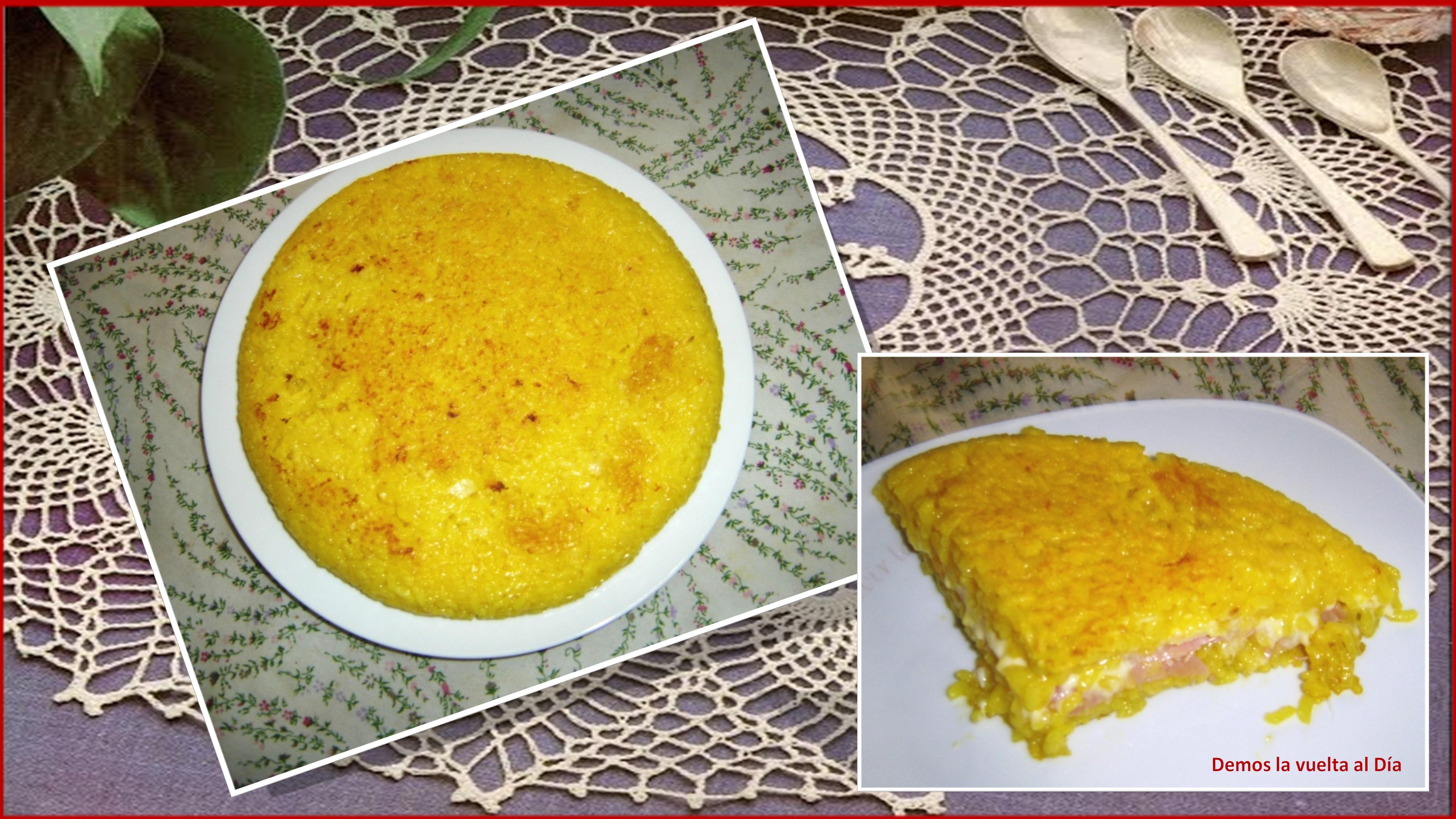 Tortilla de arroz rellena de jamón y queso