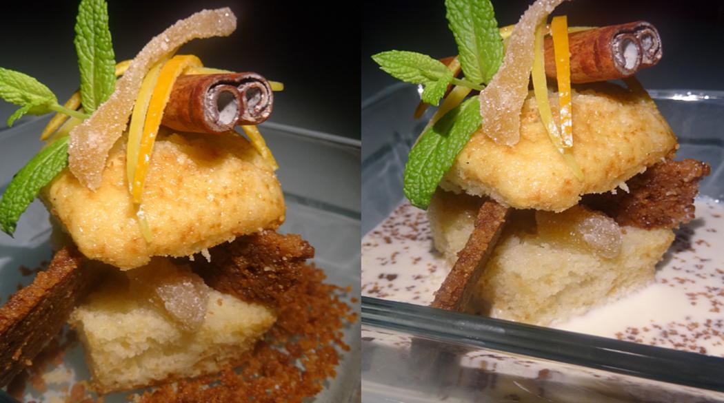Sandwich de muffin de pera crujiente con infusión cítrica