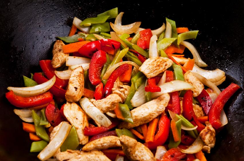 Wok de verduras y pollo